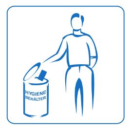 Piktogramm Toilettentür Hygienebehälter Herrentoilette